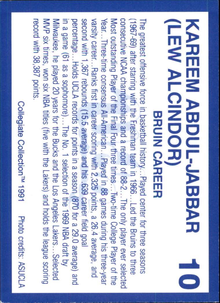 1991 UCLA Collegiate Collection #10 Kareem Abdul-Jabbar back image