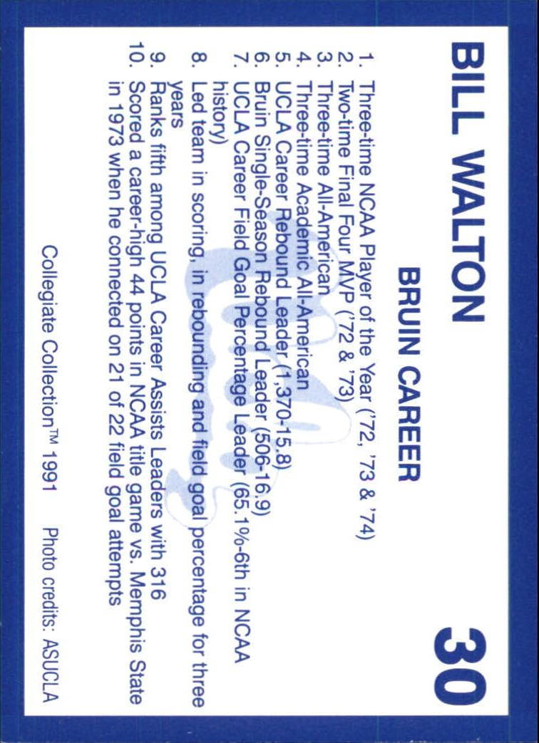 1991 UCLA Collegiate Collection #30 Bill Walton back image