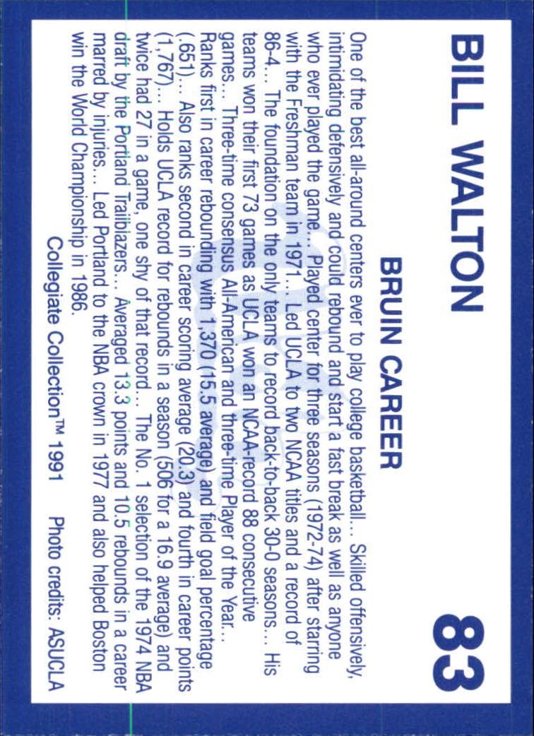 1991 UCLA Collegiate Collection #83 Bill Walton back image