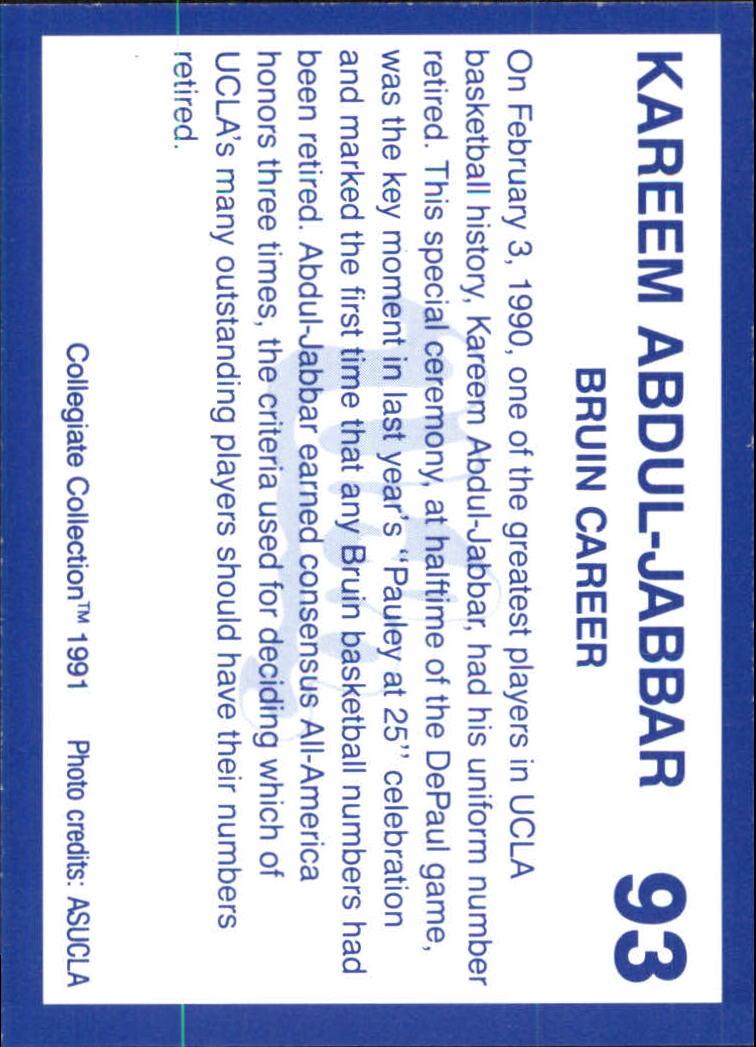 1991 UCLA Collegiate Collection #93 Kareem Abdul-Jabbar back image