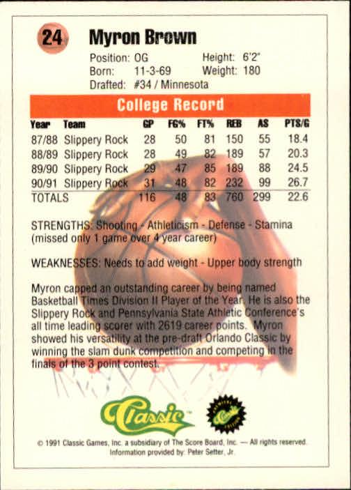 1991 Classic #24 Myron Brown back image