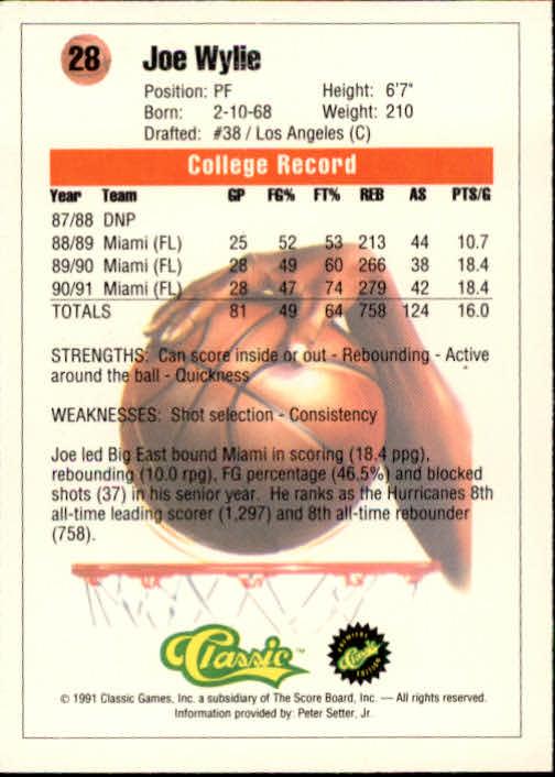 1991 Classic #28 Joe Wylie back image