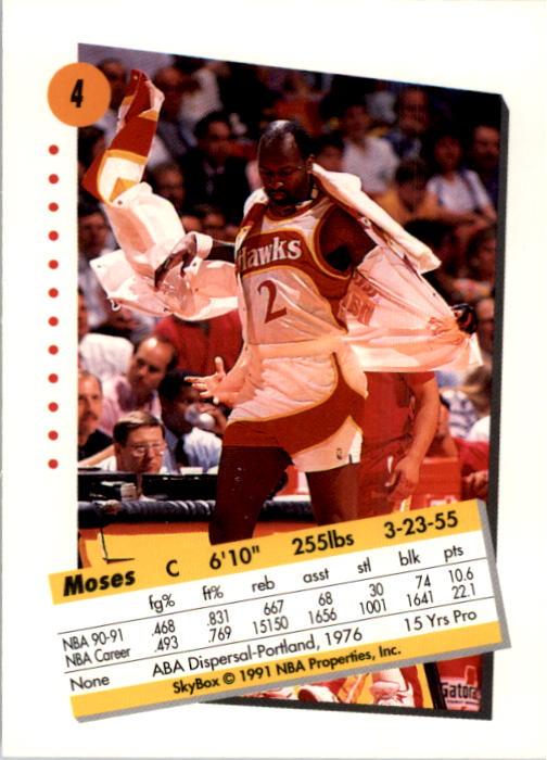 1991-92 SkyBox #4 Moses Malone back image