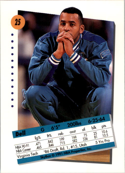 1991-92 SkyBox #25 Dell Curry back image