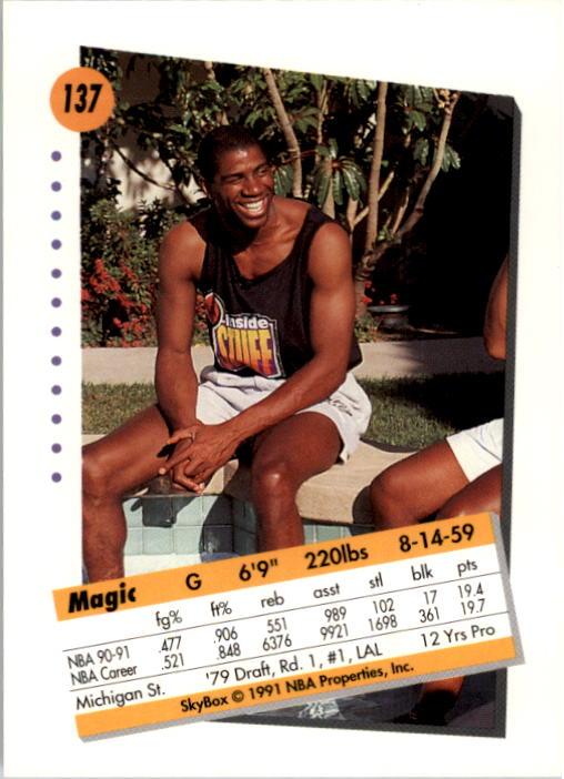 1991-92 SkyBox #137 Magic Johnson back image