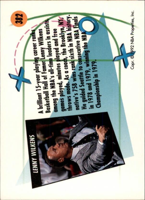 1991-92 SkyBox #382 Lenny Wilkens CO back image