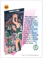 1991-92 SkyBox #460 Larry Bird/Robert Parish TW back image