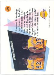 1991-92 SkyBox #471 Magic Johnson/James Worthy TW back image