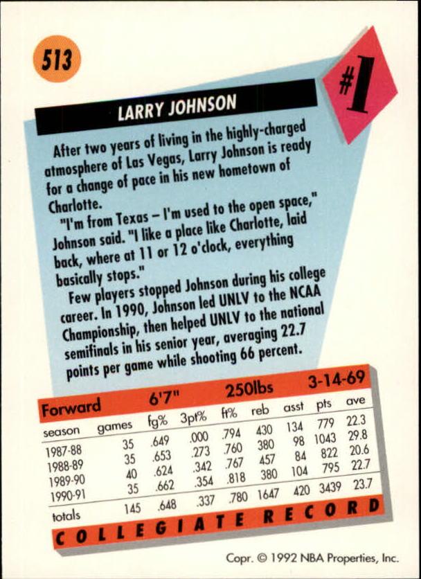 1991-92 SkyBox #513 Larry Johnson RC back image