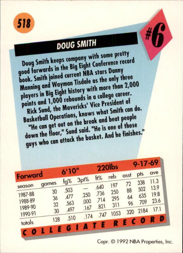 1991-92 SkyBox #518 Doug Smith RC back image