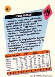 1991-92 SkyBox #521 Stacey Augmon RC back image