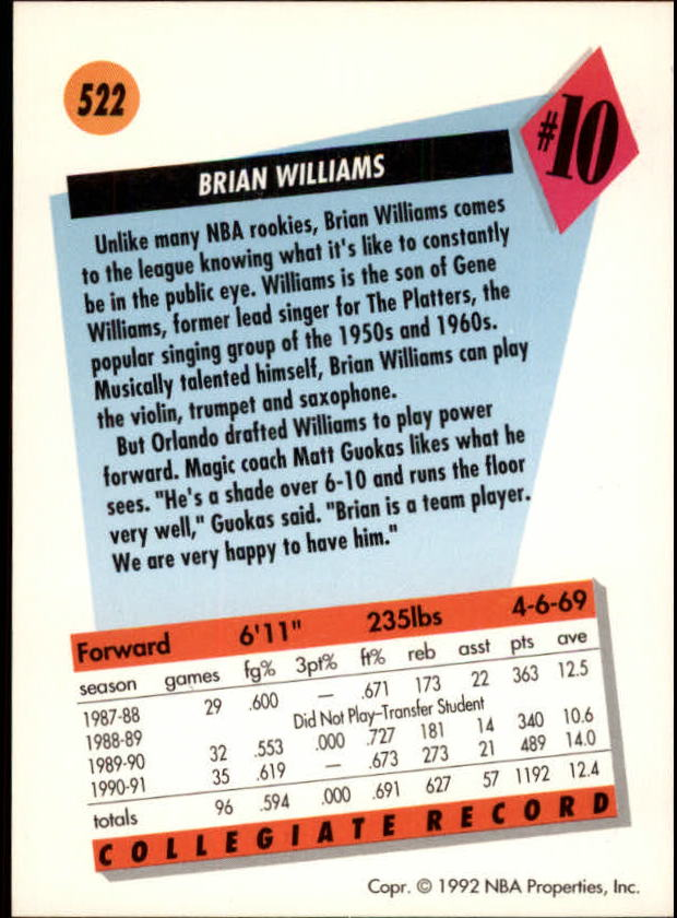 1991-92 SkyBox #522 Brian Williams RC back image
