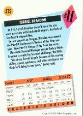 1991-92 SkyBox #523 Terrell Brandon RC back image