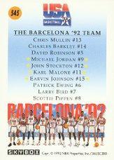 1991-92 SkyBox #545 Team USA 2 back image