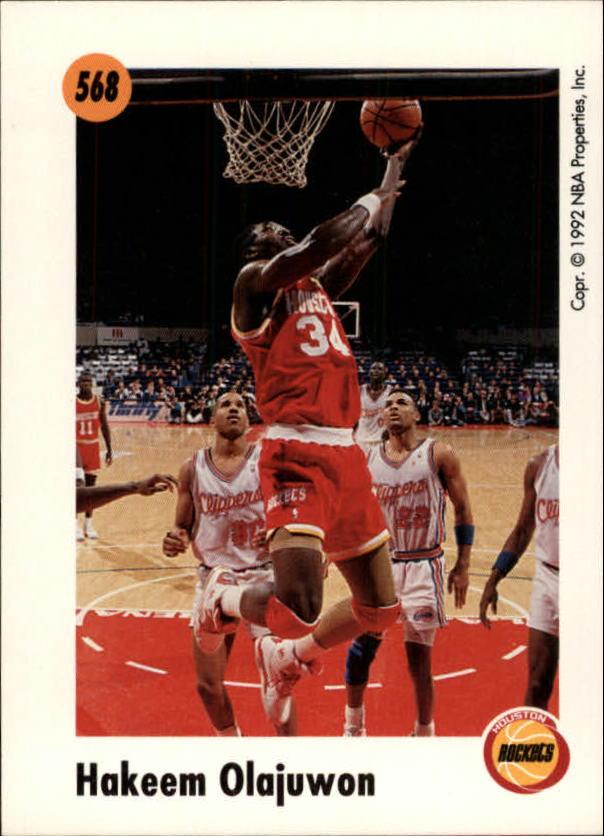 1991-92 SkyBox #568 Hakeem Olajuwon MAG back image