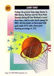 1991-92 SkyBox #591 Larry Bird SS back image