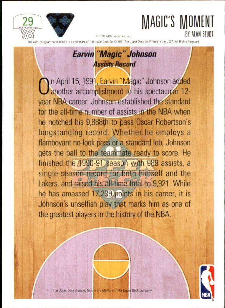 1991-92 Upper Deck #29 Magic Johnson/Assist Record back image