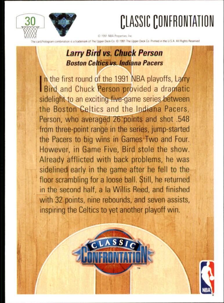 1991-92 Upper Deck #30 Larry Bird CC/Chuck Person back image