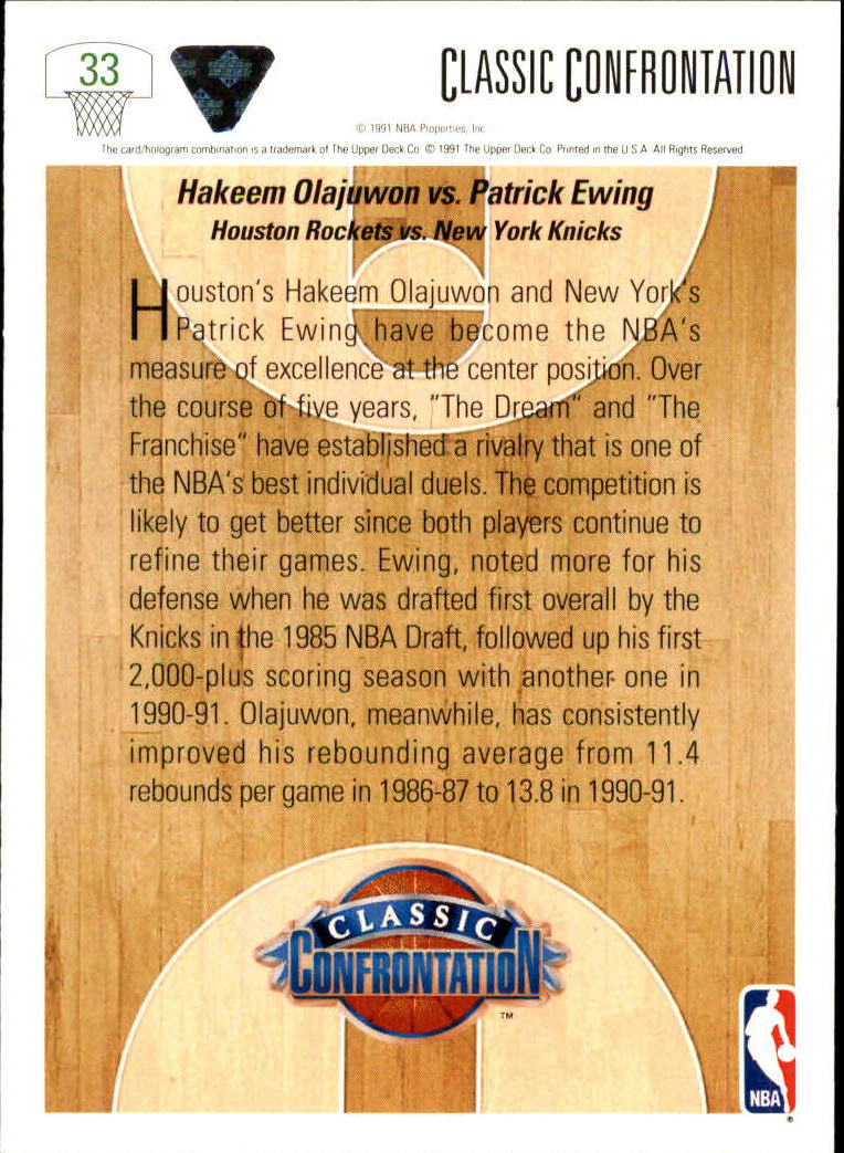 1991-92 Upper Deck #33 Hakeem Olajuwon CC/Patrick Ewing back image