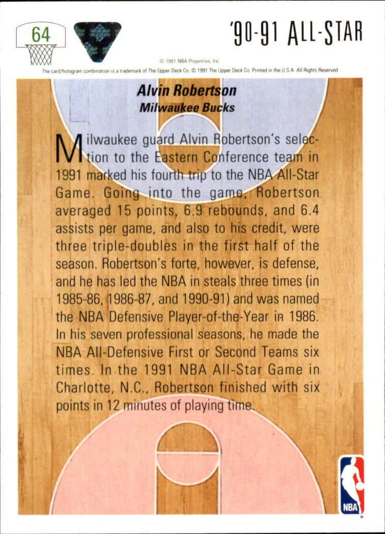 1991-92 Upper Deck #64 Alvin Robertson AS back image