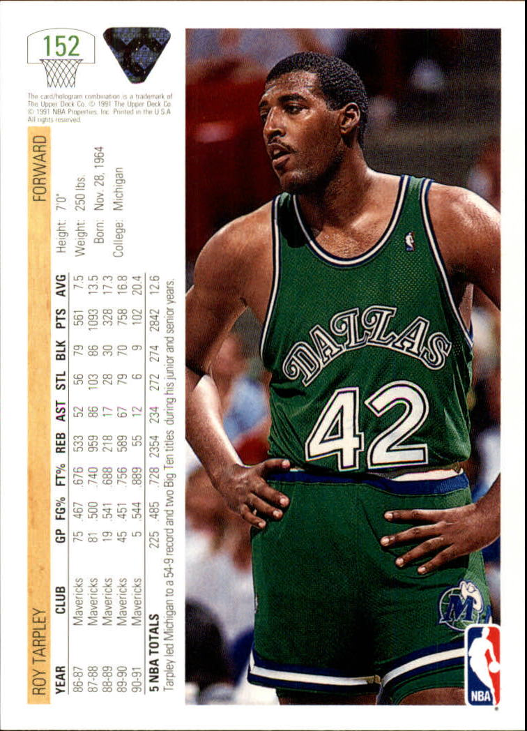 1991 92 Upper Deck 152 Roy Tarpley NM MT