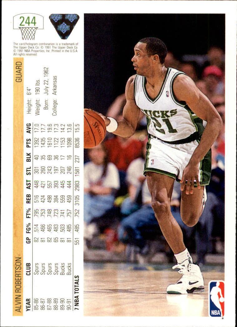 1991-92 Upper Deck #244 Alvin Robertson back image