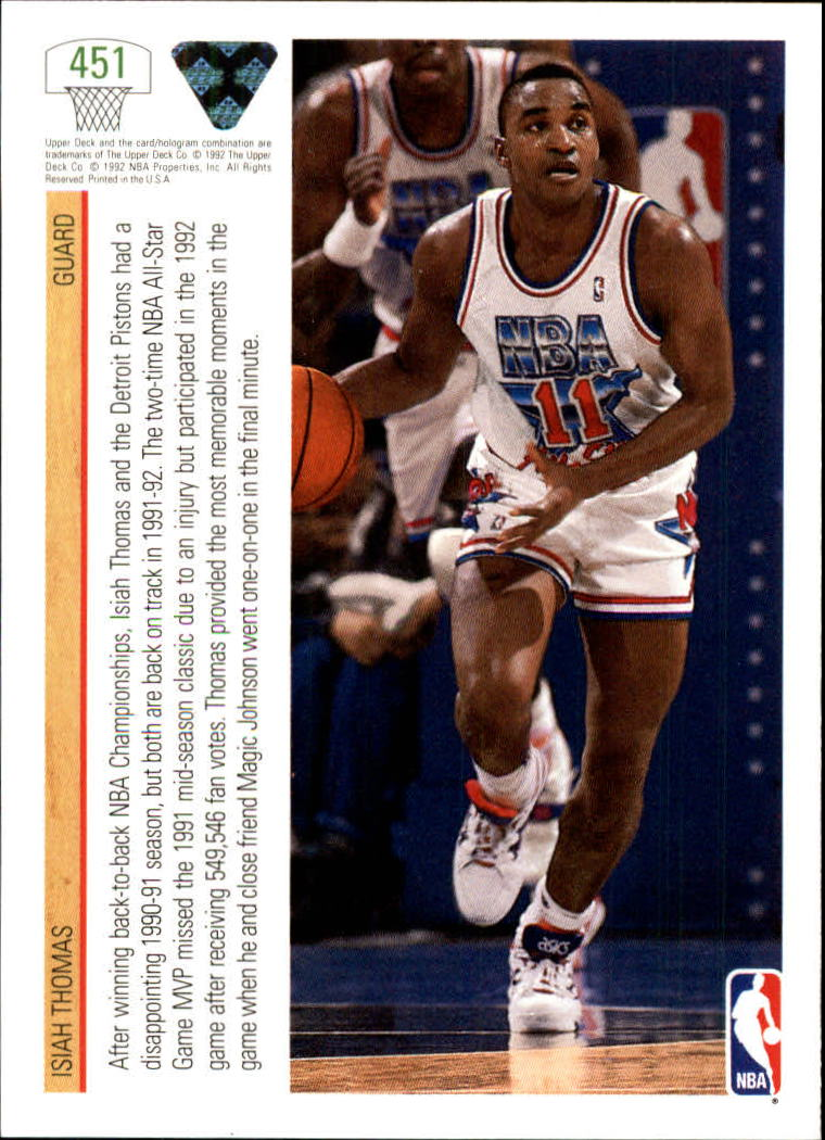 1991-92 Upper Deck #451 Isiah Thomas AS/(Magic Johnson also shown) back image
