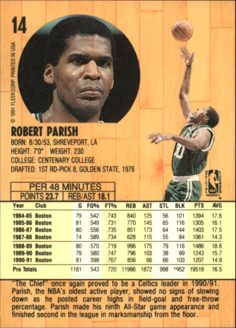 1991-92 Fleer #14 Robert Parish back image