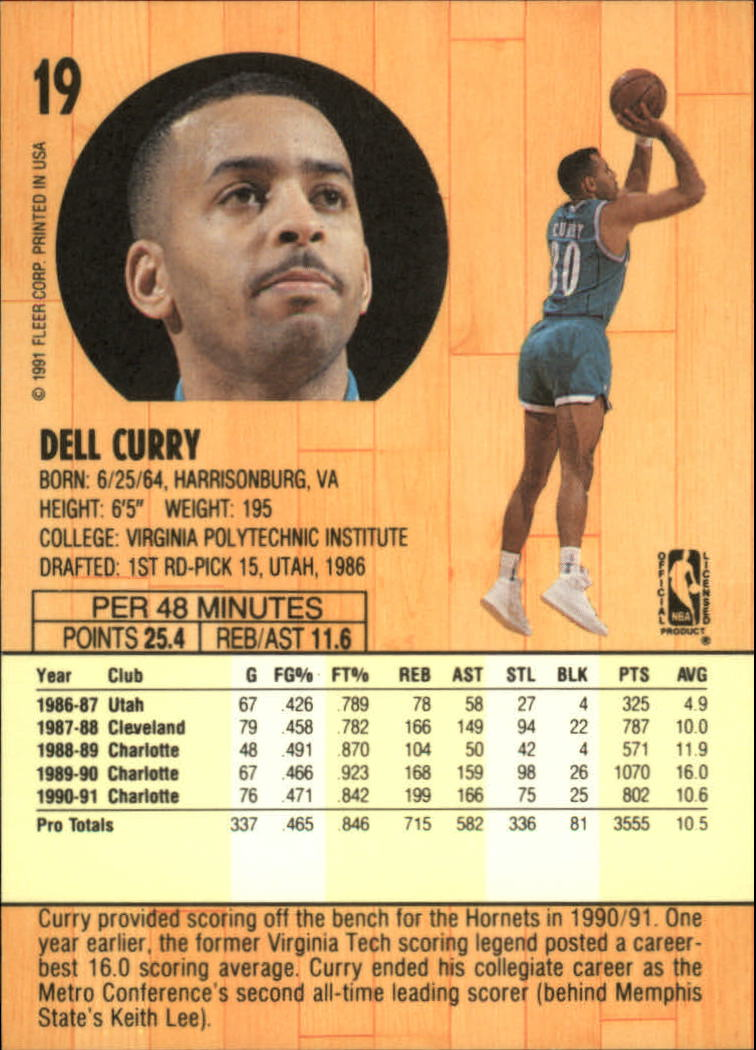 1991-92 Fleer #19 Dell Curry back image