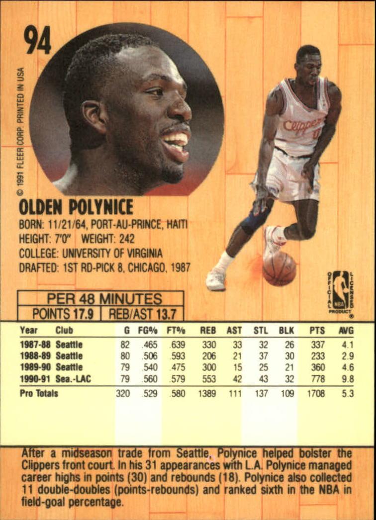 1991-92 Fleer #94 Olden Polynice back image