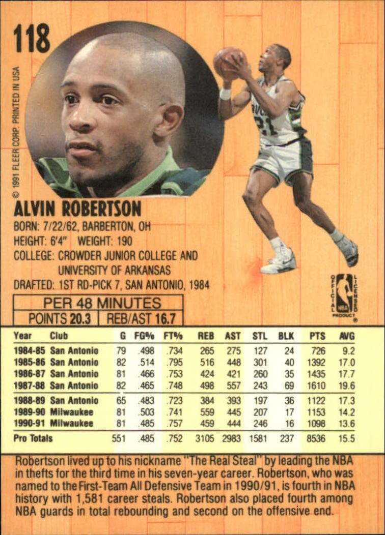 1991-92 Fleer #118 Alvin Robertson back image