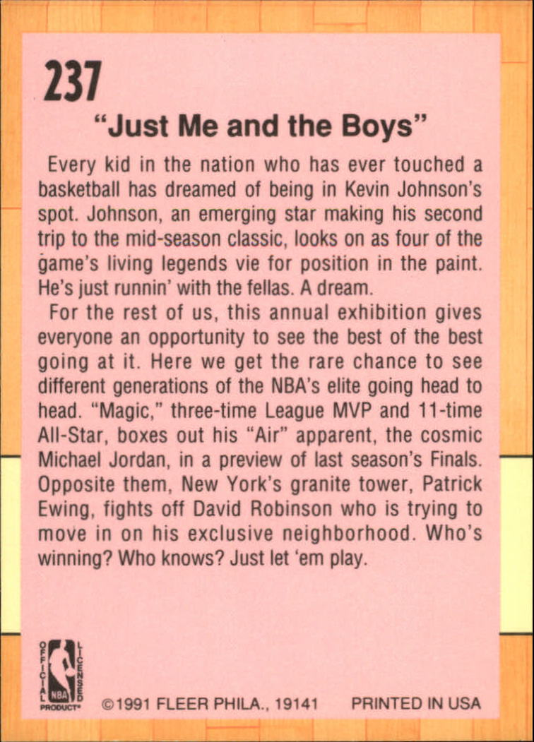 1991-92 Fleer #237 Michael Jordan/Magic Johnson/David Robinson/Patrick Ewing back image