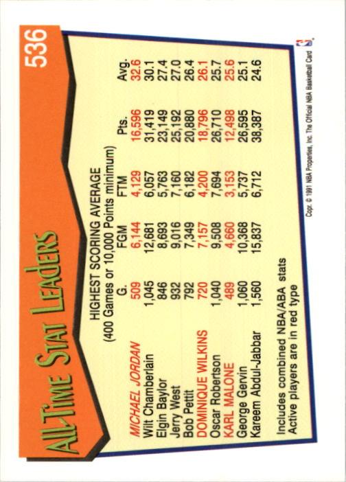 1991-92 Hoops #536 Michael Jordan AL back image