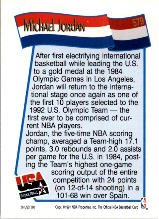 1991-92 Hoops #579 Michael Jordan USA back image