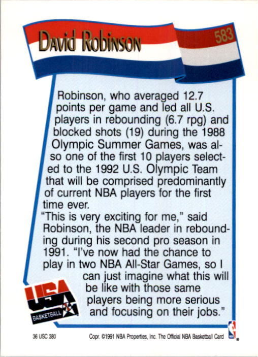 1991-92 Hoops #583 David Robinson USA back image
