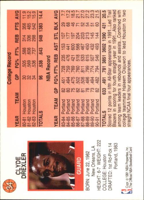 1991-92 Hoops McDonald's #34 Clyde Drexler back image