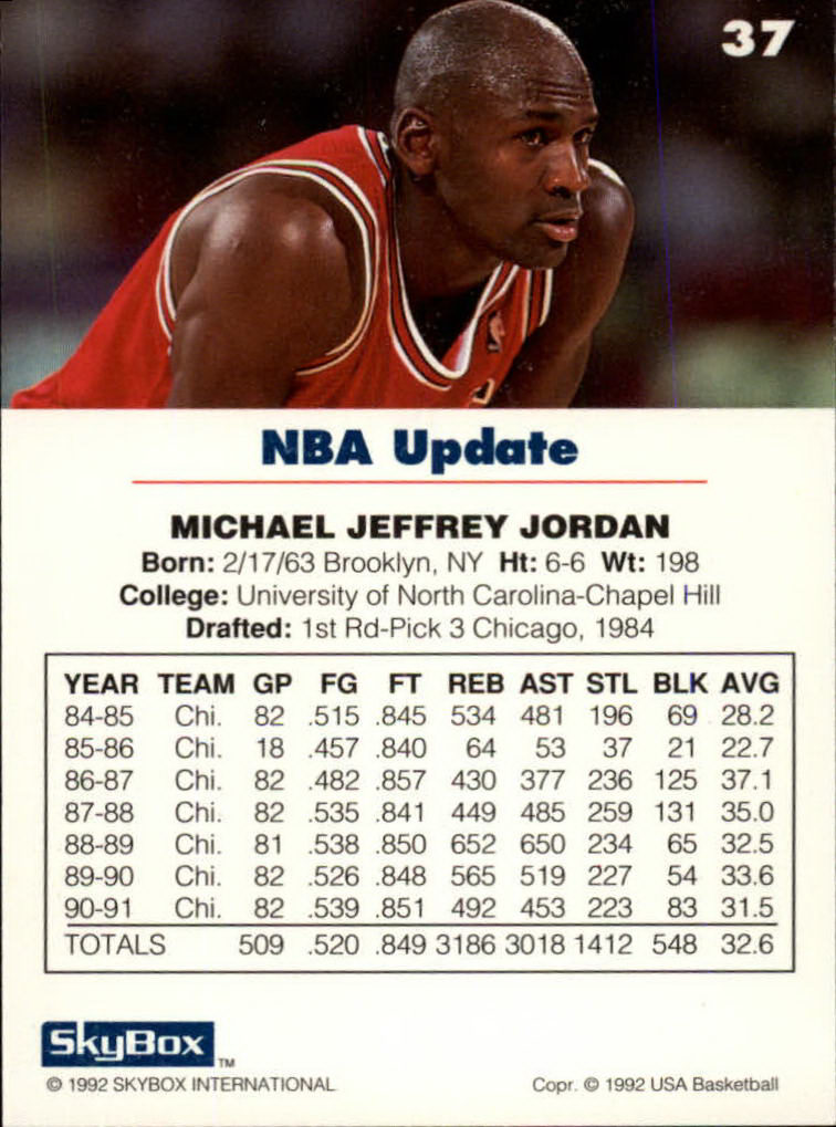 huge discount 42b1a 4c234 ... 1992 SkyBox USA  37 Michael Jordan NBA Update back image