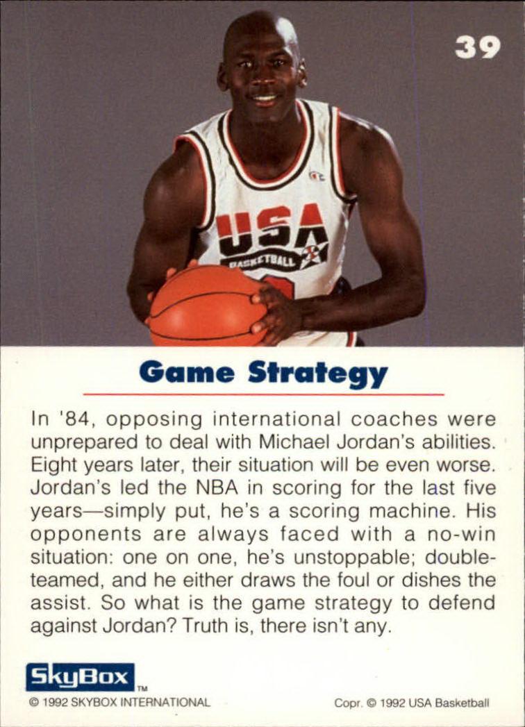 1992 SkyBox USA #39 Michael Jordan/Game Strategy back image