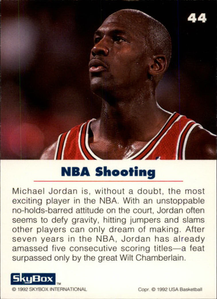 1992 SkyBox USA #44 Michael Jordan/NBA Shooting back image