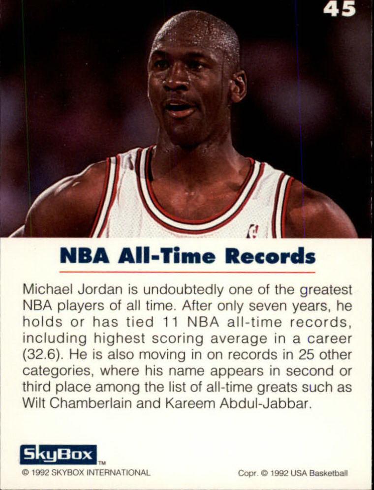 new styles 5ac67 d670b 1992 SkyBox USA Basketball  45 Michael Jordan NBA All-Time Records