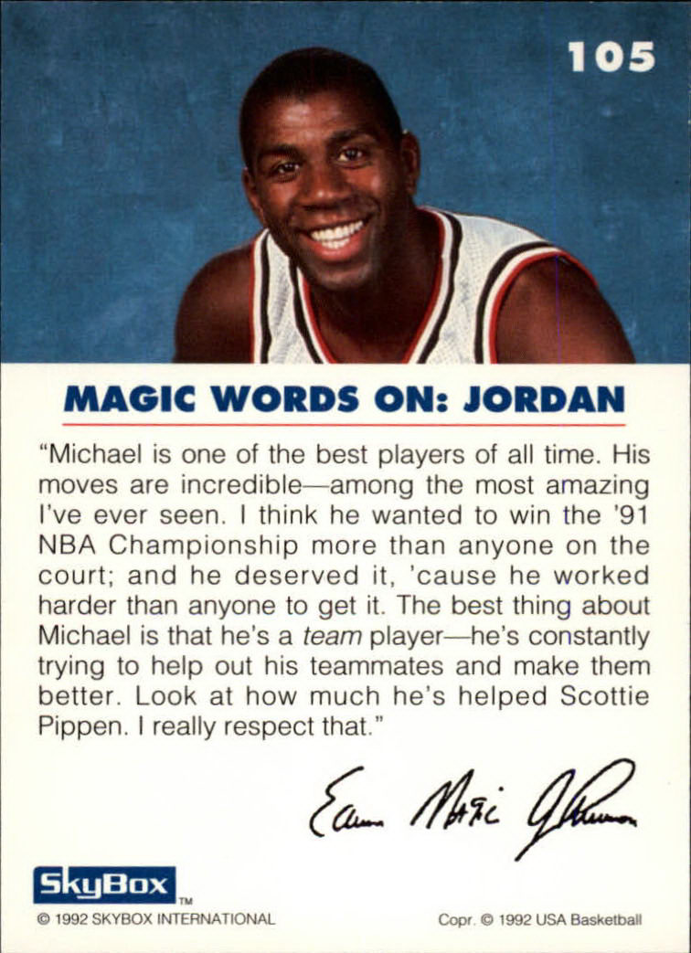 1992 SkyBox USA #105 Magic on Jordan back image