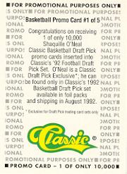 1992 Classic Previews #1 Shaquille O'Neal back image