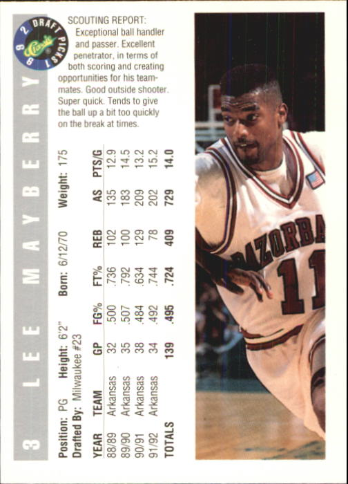 1992 Classic #3 Lee Mayberry back image