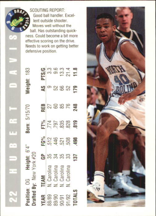 1992 Classic #22 Hubert Davis back image