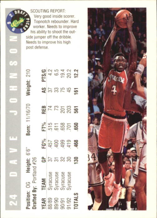 1992 Classic #24 David Johnson back image