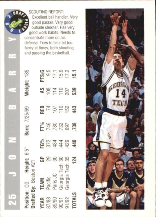 1992 Classic #25 Jon Barry back image