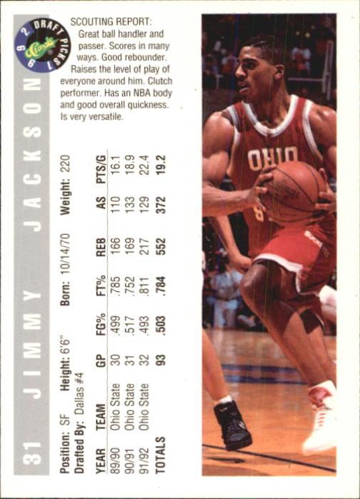 1992 Classic #31 Jimmy Jackson back image