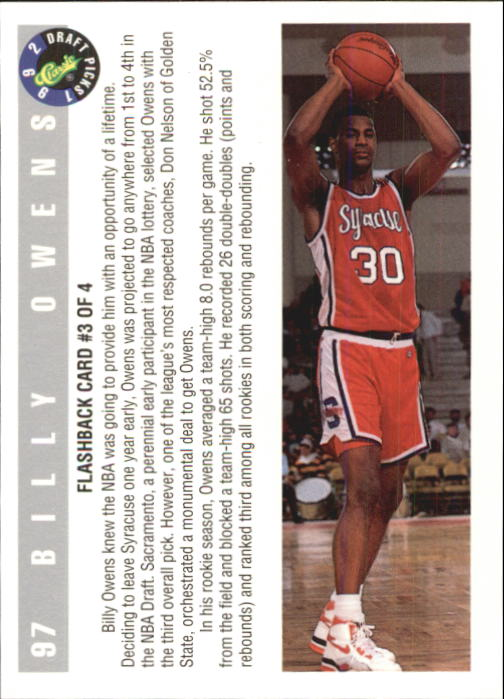 1992 Classic #97 Billy Owens FB back image