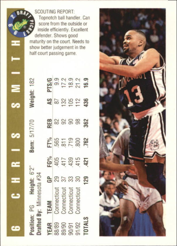 1992 Classic Gold #6 Chris Smith back image