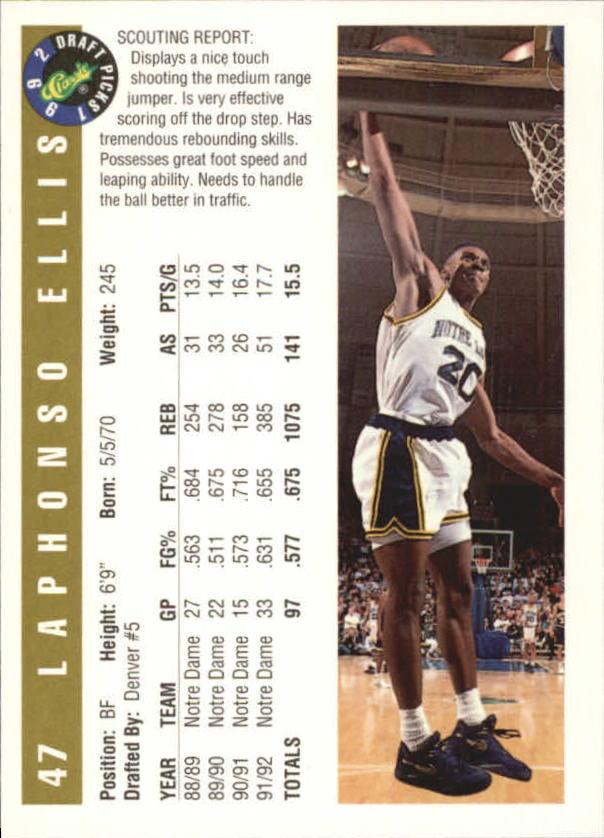 1992 Classic Gold #47 LaPhonso Ellis back image